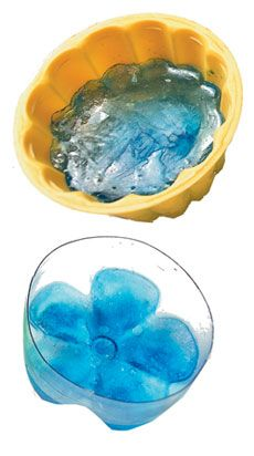 Make ice in the bottom of plastic bottles for flower-shaped ice to float in punch bowls!  Will remember this.: