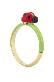ladybird enameled 18-karat gold ring