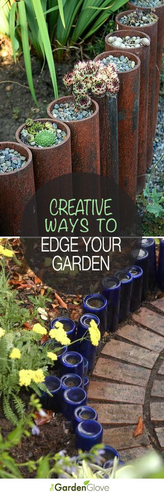 Garden edging 5 ways to edge your landscape with recycled - Creative garden edging ideas ...