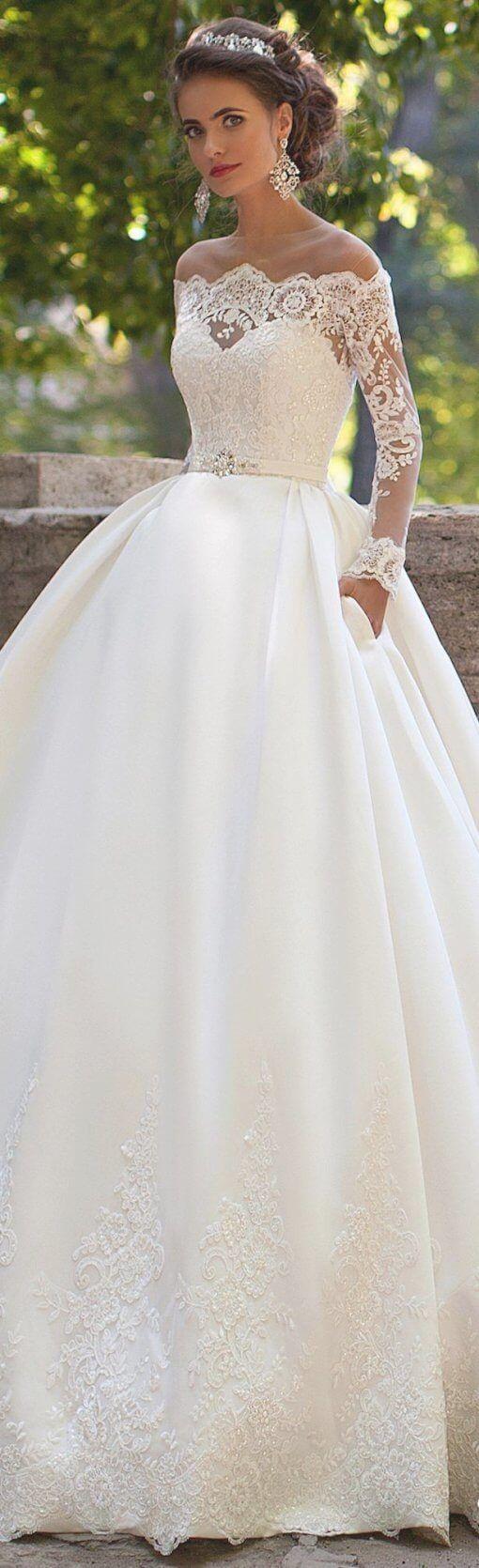 Best 30 Beautiful White Wedding Dress Gold Embroidery Best Inspiration Wedding Dress Long Sleeve Wedding Dresses Bridal Dresses [ 1670 x 510 Pixel ]