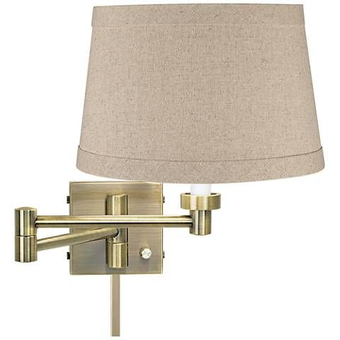Natural Linen Drum Antique Brass Swing Arm With Cord Cover 17a65 Lamps Plus Swing Arm Wall Lamps Wall Lamps With Cord Wall Lamp