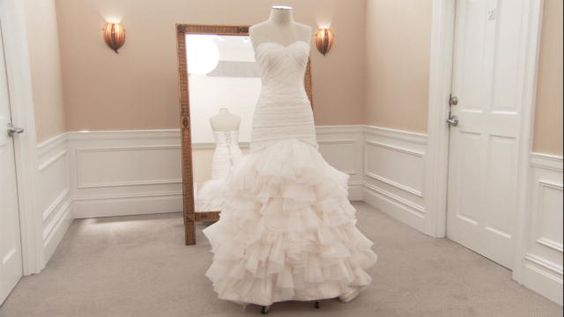 """Say Yes to the Dress: Dennis Basso """"Airy Organza Mermaid Dress."""" LOVE the belt too!!"""
