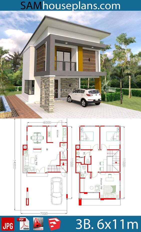 House Plans 6x11m with 3 Bedrooms - Sam House Plans