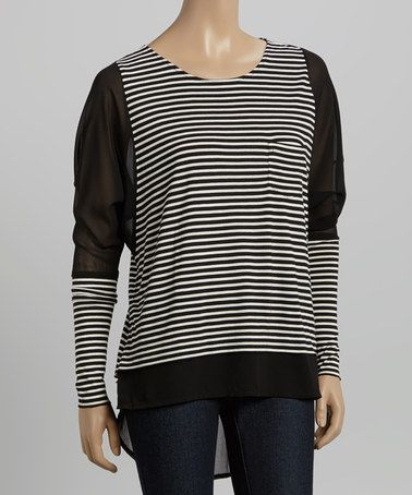Look at this #zulilyfind! Cream & Black Stripe Hi-Low Top - Women #zulilyfinds