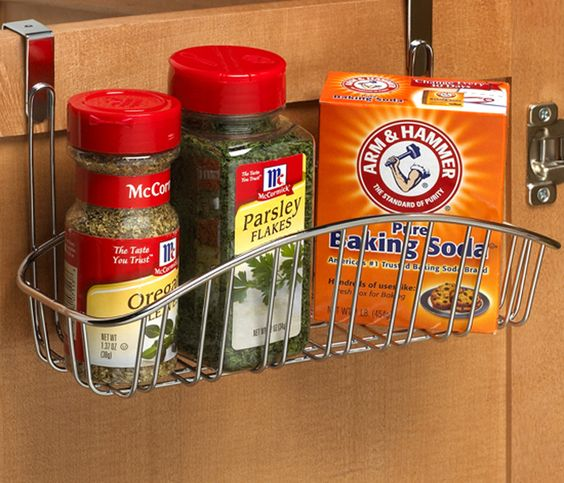 This Over the Cabinet Door Basket gives you a simple way to store extra items in the bathroom or kitchen.