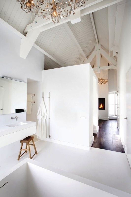 Badkamerwisser Chroom ~ Fireplaces, White interiors and Luxury bathrooms on Pinterest