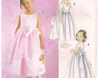 McCalls 4358 Girls Lined party dress for special occasions confirmation flower girl tea length sewing pattern Sz 6 7 8