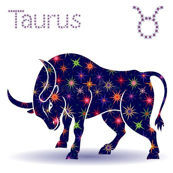 Zodiac sign Taurus stencil. Zodiac sign Taurus, hand drawn vector stencil with stylized stars isolated on the white background vector illustration