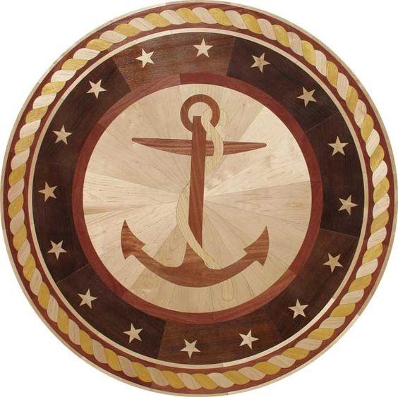 Anchor wood floor inlay medallion nautical pinterest for Wood floor medallions