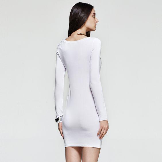 Animal Print Long Sleeves Dress in White http://everyFashion.storenvy.com