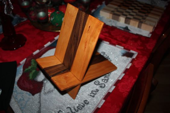 I-pad tablet stand made from Cherry and Walnut