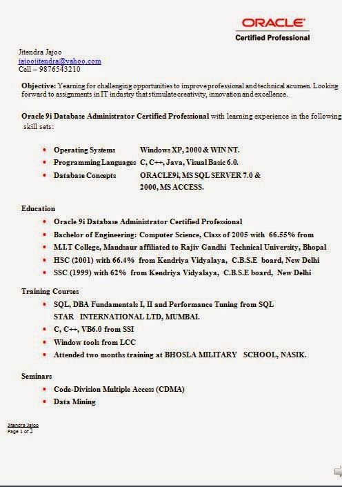 free samples of resumes Sample Template Example ofExcellent CV