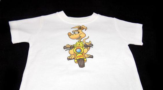 Baby White Tshirt Heygidday Kangaroo Motorcycle Design 6-12 months BSC-0002