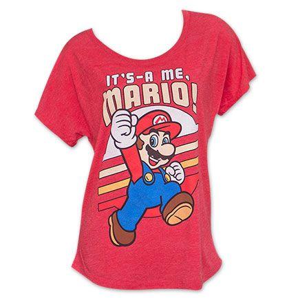 Nintendo Women's Red Mario Fashion Body Tee Shirt