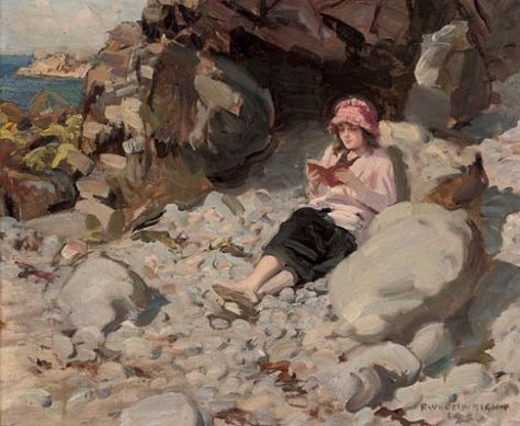 A Quiet Moment (c.1920). Rowland Wheelwright (British, 1870-1955). Oil on canvas. Wheelwright was a painter of naturalistic genre scenes and showed a particular delight in painting the young girls of the 1920s and 30s, often bathing or enjoying the delights of the countryside.