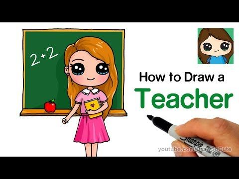 How To Draw A Teacher Easy Back To School Youtube Drawing Lessons For Kids Drawing For Kids Teacher Cartoon