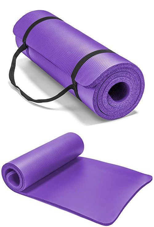 Spoga Premium 1 2 Inch Extra Thick High Density Exercise Yoga Mat With Carrying Strap Purple Yoga Mat Mat Exercises Yoga Mat Bag