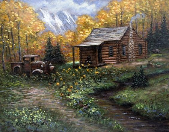 Cabin Fever This is 11 x 14 a painting by me! Getting away from it all in a cabin in the mountains is a dream of many. There are a couple of nice surprises in this painting when look at carefully. Do you see the Bear and a can of worms in the grass for fishing? Click on the extra