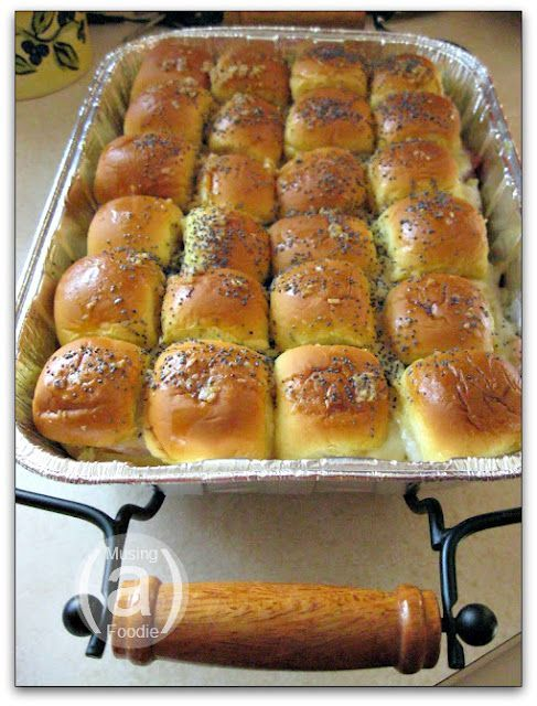 Hot Ham Swiss Cheese Sandwich Rolls I Used To Make These With Those Small Pepperidge Farm Rolls In The Alu Food For A Crowd Ham And Cheese Sandwich Food