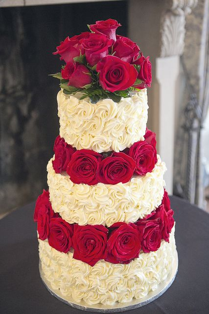 Roses and Rosettes Wedding Cake by Delicately Delicious, via Flickr