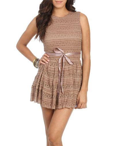 $15.00 - S,M,L (Mocha or Black)  Crochet Ribbon Belt Dress from WetSeal.com