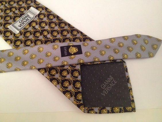 GIANNI VERSACE Purple & Gold ICONIC MEDUSA HEAD Silk PRINT Necktie Tie…
