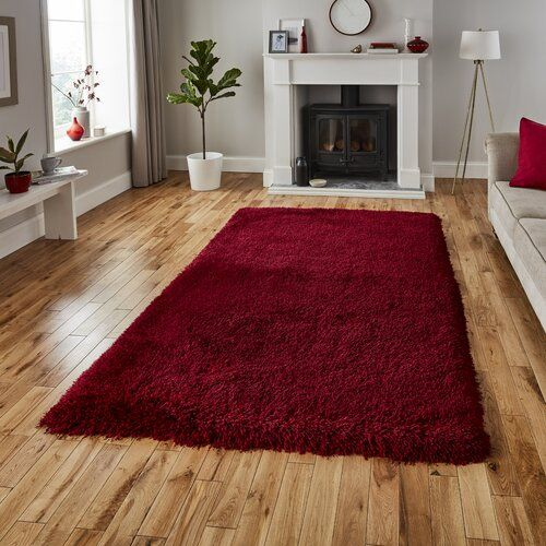 Rosdorf Park Handgefertigter Shaggy Teppich France In Dunkelrot In 2020 Plum Rug Red Rugs Plain Rugs