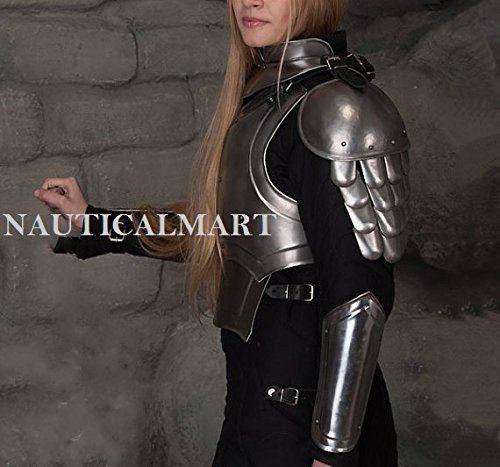 NAUTICALMART Gorget /& Pauldrons Iron Princess Female Armor Lady Warrior Steel Gorget LARP Fantasy Protection Metal Armor