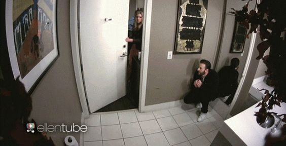 Watch Chris Evans Scare Elizabeth Olsen on 'Ellen'<---I want the video with sound, lol. Just to hear Chris laugh