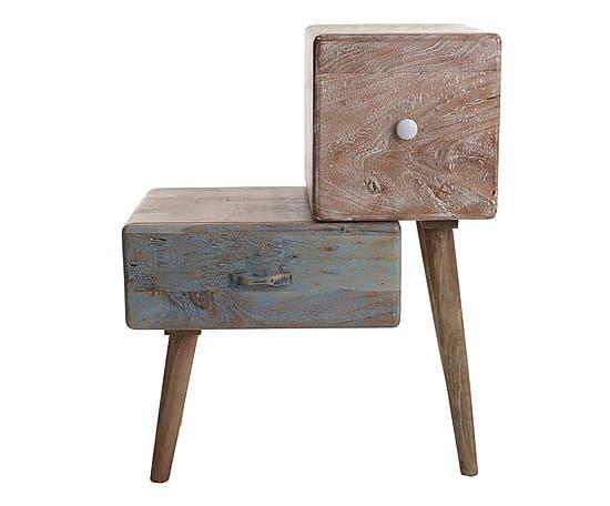 Mobiletto 2 cassetti in legno di acacia marrone/naturale, 80x60x35 cm