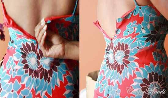how to alter the back of a dress that is