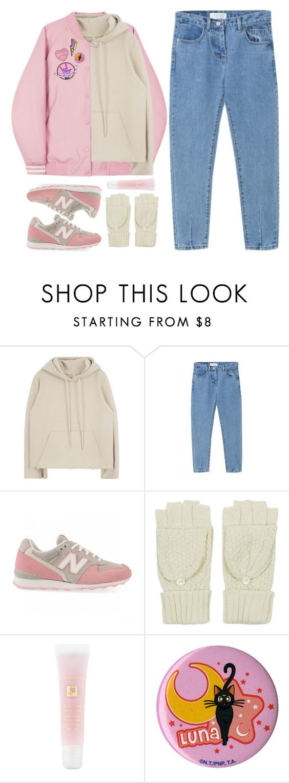 """""""Untitled #1368"""" by timeak ❤ liked on Polyvore featuring New Balance, Topshop and Lancôme"""