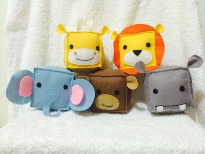 Artesanato da Tia Jack: Cubos animados Animais de feltro para bebê