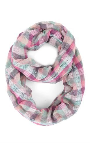 Infinity Scarf with Bright Plaid Print.....all 3 colors pls
