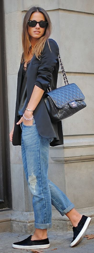 boyfriend jeans, boyfriend blazer, black tank and black loafers: