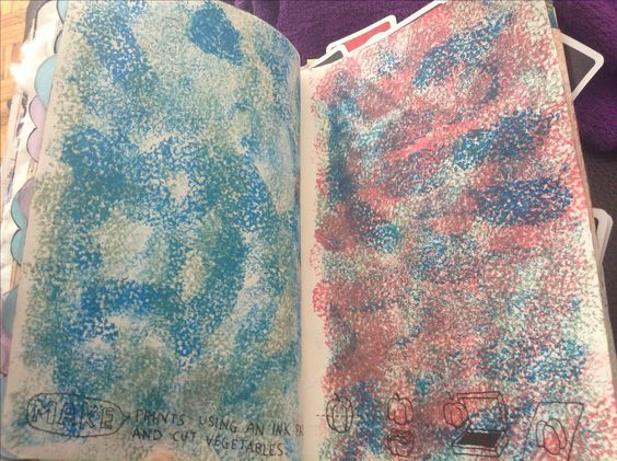 Wreck this Journal  Make prints using an ink pad and cut vegetables I use some orange peels