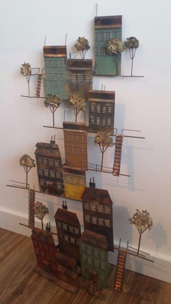 Signed JERE Vintage Mid Century Hillside Village Wall Sculpture Houses Trees NR
