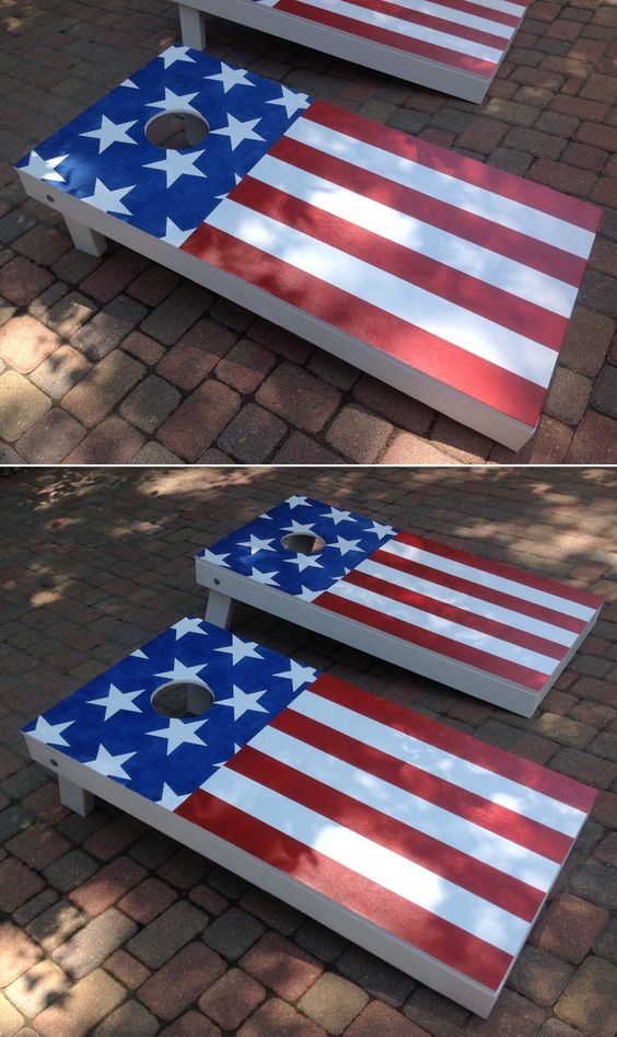 Hand Made American Flag Corn Hole Game Memorial Day