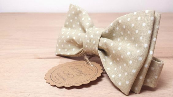 Mens bow tie  polkadot bow tie  beige bow tie  by SERENEhandmade