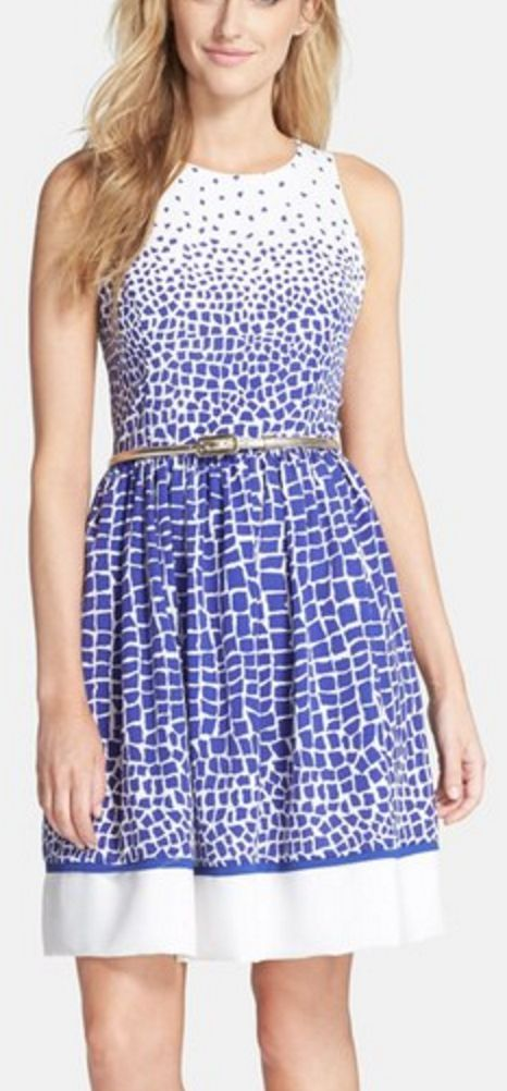 Belted Fit and Flare Dress in Blue and White Scatter Print