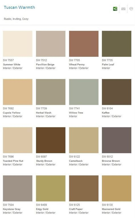 Great Color Palette For A Rustic Room House Paint Exterior House Colors Tuscan Decorating