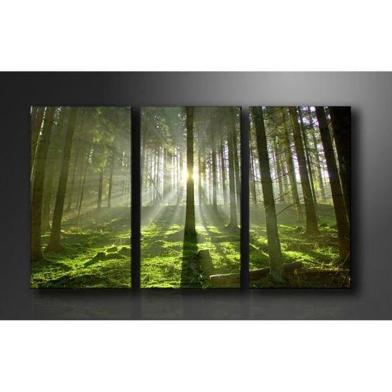 Tableau toile tableau triptyque imprim 160x90 cm foret peinture pint - Tableau peinture triptyque ...