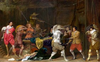 1. Willem Cornelisz. Duyster, Soldiers Fighting over Booty in a Barn, ca. 1623-1624. Oil on panel, 37.6 x 57 cm. National Gallery, London, Inv. NG1386. ©National Gallery, London.