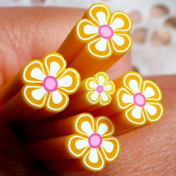 Yellow Flower Polymer Clay Cane Fimo Cane (Large / Big) Nail Art Nail Deco Scrapbooking: