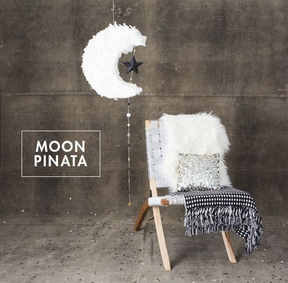 Moon Pinata (made from cardboard, not paper mache) plus links to mini pinata tutorials and more