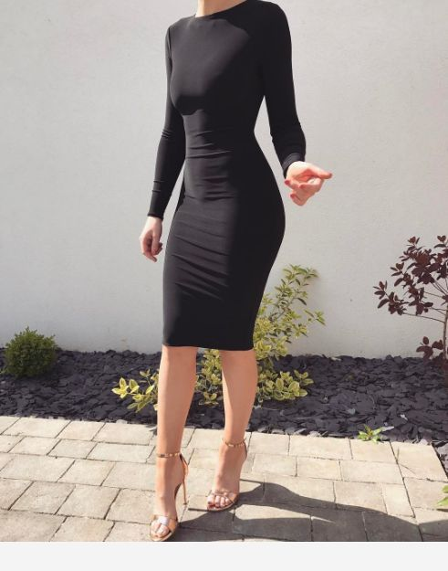 Black dress and high heels shoes