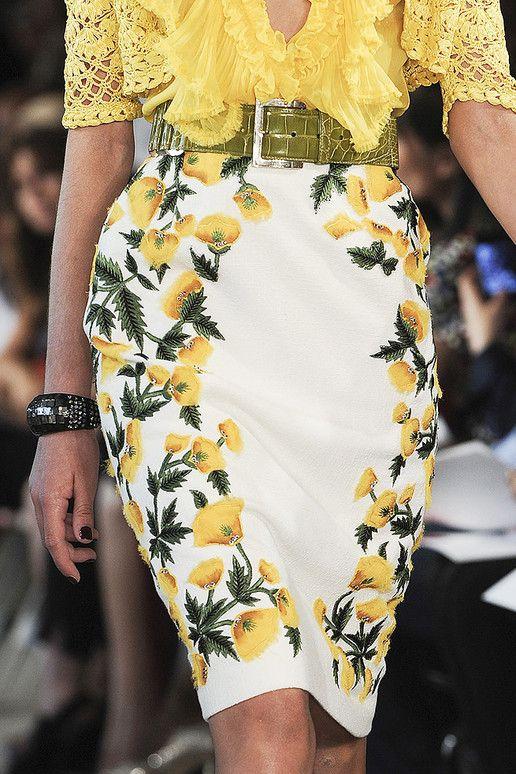 Yellow Floral pencil skirt - Oscar De La Renta | RACEWEAR ...