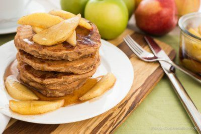 APPLE SPICE PANCAKES WITH SPICED MAPLE GLAZED APPLES by The Vegan Cookbook Aficionado