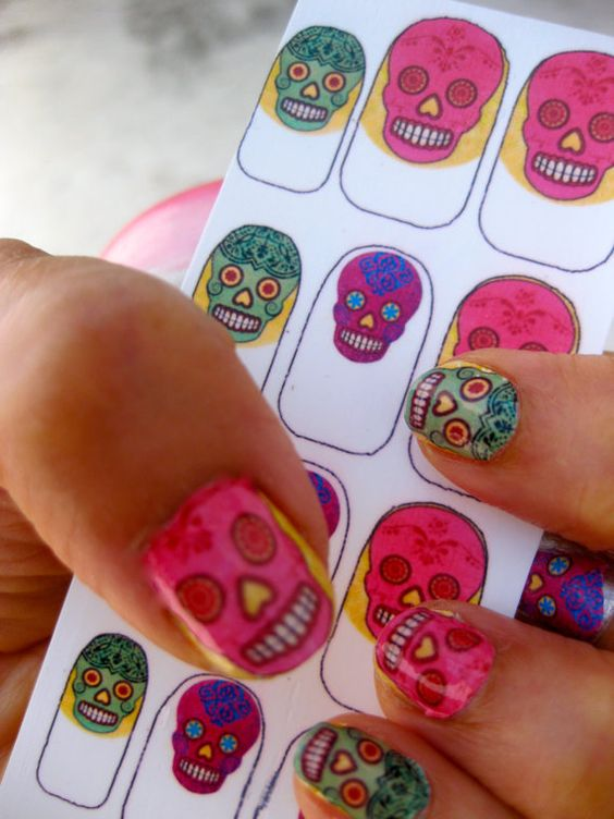 Colorful Sugar Skull Nail Decals Mexican Day of the Dead: