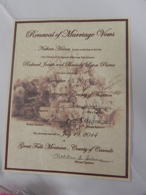 Vow Renewal Certificate